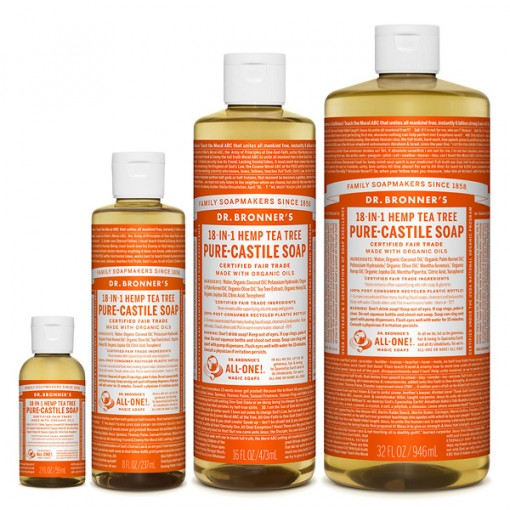 Dr Bronner's - Tea Tree - Pure Castille Liquid Soap - Various Sizes