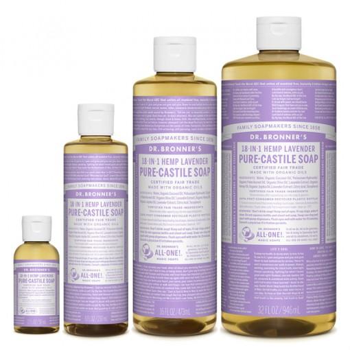 Dr Bronner's - Lavender - Pure Castille Liquid Soap - Various Sizes