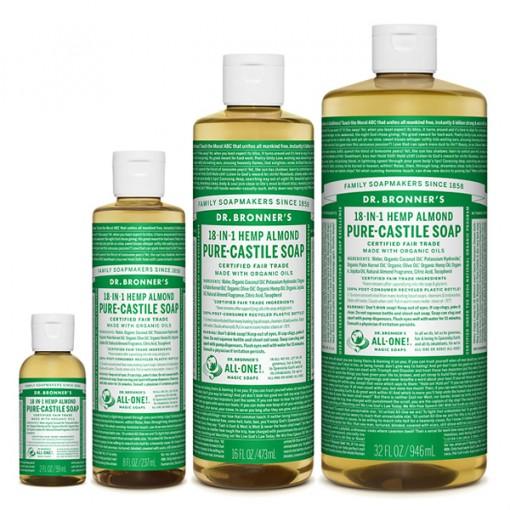 Dr Bronner's - Almond - Pure Castille Liquid Soap - Various Sizes