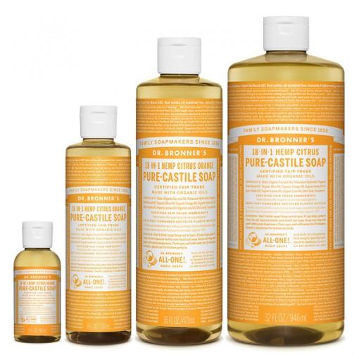 Dr Bronner's - Citrus - Pure Castille Liquid Soap - Various Sizes