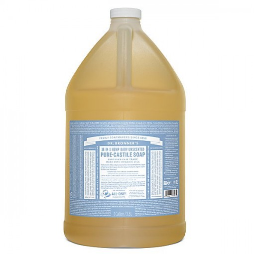 Dr Bronner's - Baby Unscented - Pure Castille Liquid Soap - 1 Gallon/3,8 L
