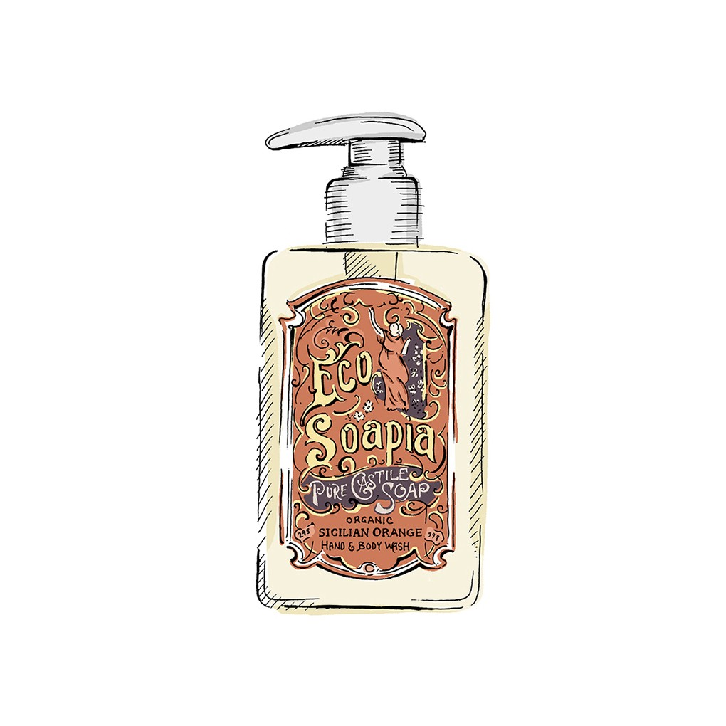 Ecosoapia - Organic Pure Castile Soap - Hand & Body Wash - Sicilian Orange - 295 ml