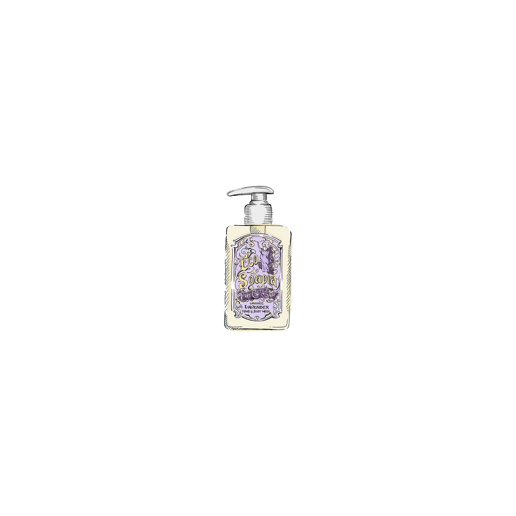 Ecosoapia - Organic Pure Castile Soap - Hand & Body Wash - Lavender - 295 ml