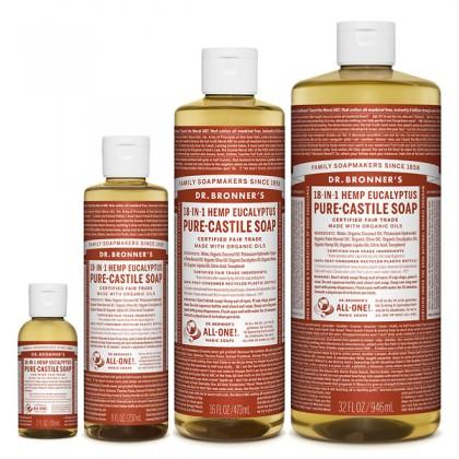 Dr Bronner's - Eucalyptus - Pure Castille Liquid Soap - Various Sizes