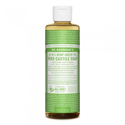 Dr Bronner's - Green Tea - Pure Castille Liquid Soap - 08 oz/237 ml