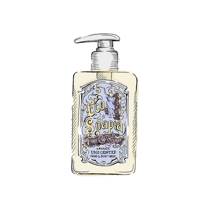 Ecosoapia - Organic Pure Castile Soap - Hand & Body Wash - Unscented - 295 ml