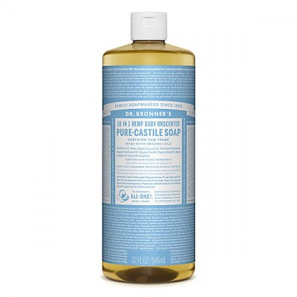 Dr Bronner's - Baby Unscented - Pure Castille Liquid Soap - 32 oz/946 ml