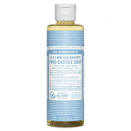 Dr Bronner's - Baby Unscented - Pure Castille Liquid Soap - 08 oz/237 ml