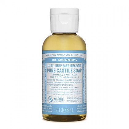 Dr Bronner's - Baby Unscented - Pure Castille Liquid Soap - 02 oz/59 ml