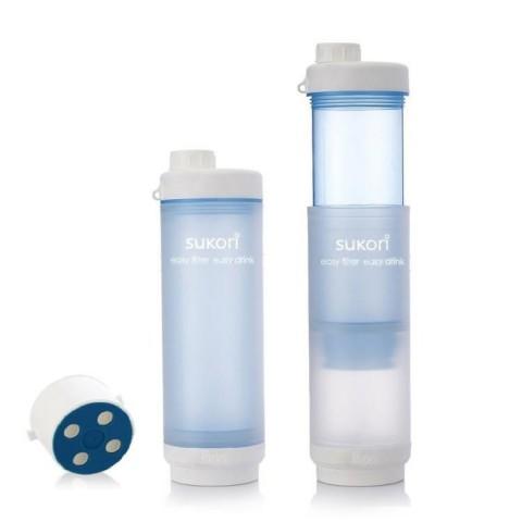 Sukori - Portable Water Filter Bottle BPA Free - 400 uses - Blue - 470 ml