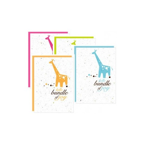 "Botanical Paperworks - Plantable Paper Gift Cards - ""Hello Bundle of Joy"" - 4 Colours Options - Blue/ Orange/ Pink/ Green"