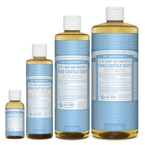 Dr Bronner's - Baby Unscented - Pure Castille Liquid Soap - Various Sizes