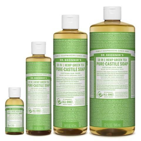 Dr Bronner's - Green Tea - Pure Castille Liquid Soap - Various Sizes