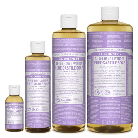 Dr Bronner's - Lavender - Pure Castille Liquid Soap - Various Sizes