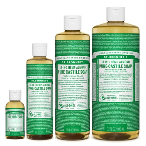 Dr Bronner's - Almond - Pure Castille Liquid Soap - Various Sizes
