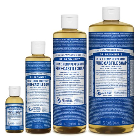 Dr Bronner's - Peppermint - Pure Castille Liquid Soap - Various Sizes