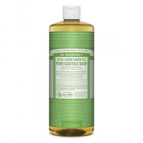 Dr Bronner's - Green Tea - Pure Castille Liquid Soap - 32 oz/946 ml