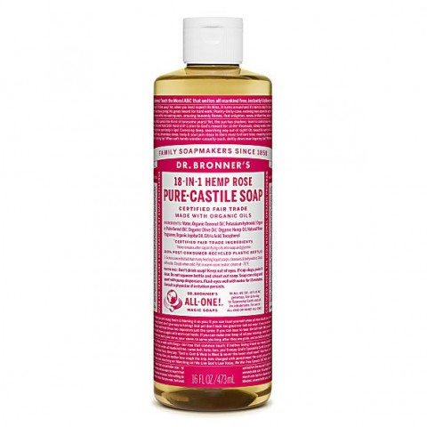 Dr Bronner's - Rose - Pure Castille Liquid Soap - 16 oz/473 ml