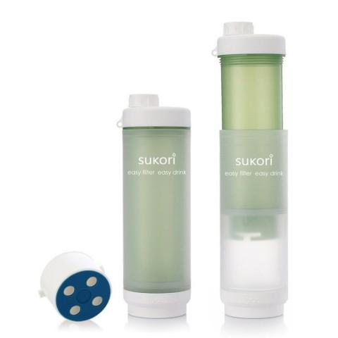 Sukori - Portable Water Filter Bottle BPA Free - 400 uses - Green - 470 ml