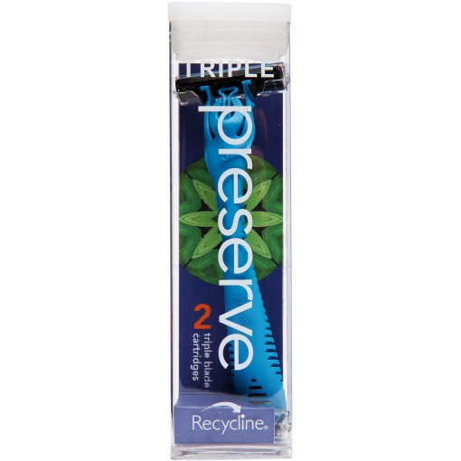 Preserve - Triple Razor + 2 Triple Blade Cartridges - Blue
