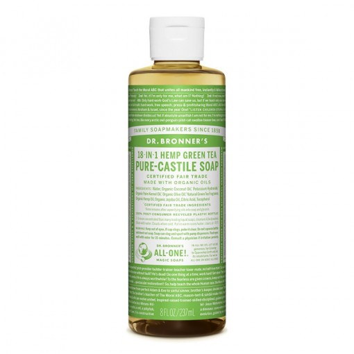 Dr Bronner's - Green Tea - Pure Castille Liquid Soap - 08 oz/237 ml