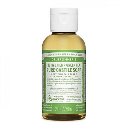 Dr Bronner's - Green Tea - Pure Castille Liquid Soap - 02 oz/59 ml
