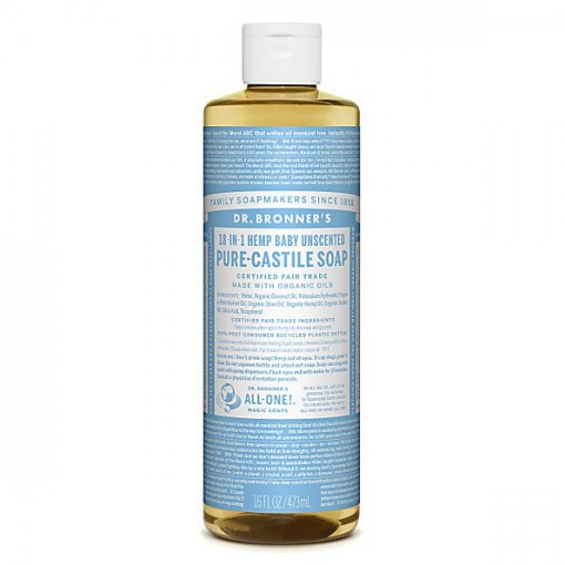 Dr Bronner's - Baby Unscented - Pure Castille Liquid Soap - 16 oz/473 ml