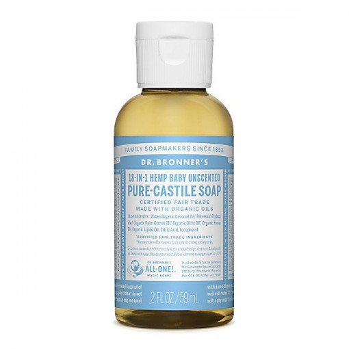 Dr Bronner's - Baby Unscented - Pure Castille Liquid Soap - 02 oz/59 ml