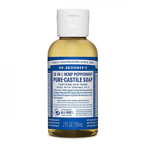 Dr Bronner's - Peppermint - Pure Castille Liquid Soap -  02 oz/59 ml