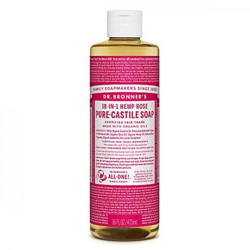 Dr Bronner's - Rose - Pure Castille Liquid Soap - 16 oz/473 ml