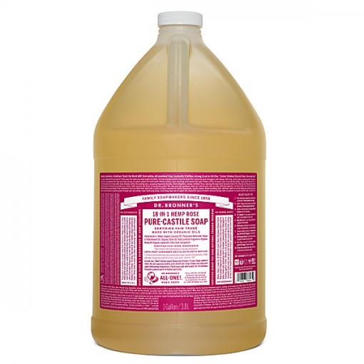 Dr Bronner's - Rose - Pure Castille Liquid Soap - 1 Gallon/3,8 L