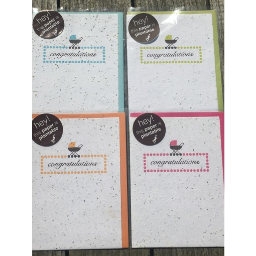 Botanical Paperworks 'Congratulations' Plantable Paper Gift Card (4 Colour Options-Blue, Orange, Pink & Green)