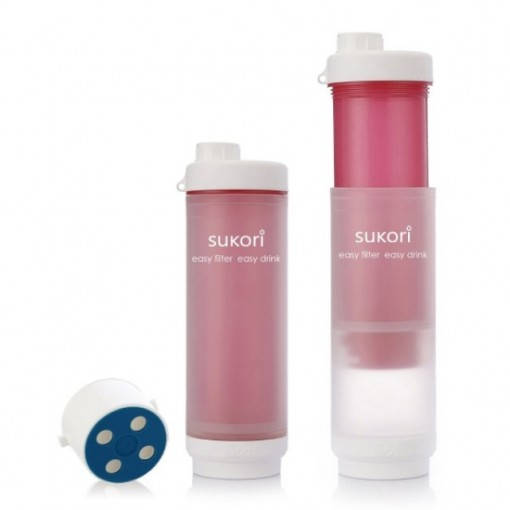Sukori - Portable Water Filter Bottle BPA Free - 400 uses - Pink - 470 ml