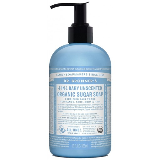 Dr Bronner 4 In 1 Baby Unscented Organic Sugar Soap (356 ml)
