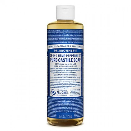Dr Bronner's - Peppermint - Pure Castille Liquid Soap - 16 oz/473 ml