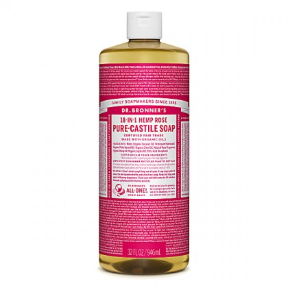 Dr Bronner's - Rose - Pure Castille Liquid Soap - 32 oz/946 ml