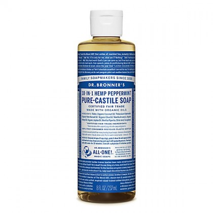 Dr Bronner's - Peppermint - Pure Castille Liquid Soap - 08 oz/237 ml