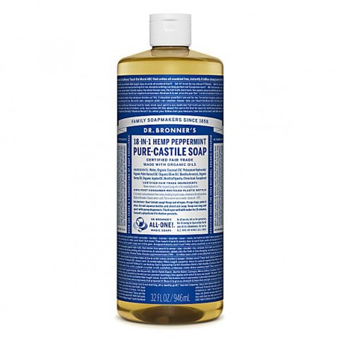 Dr Bronner's - Peppermint - Pure Castille Liquid Soap - 32 oz/946 ml