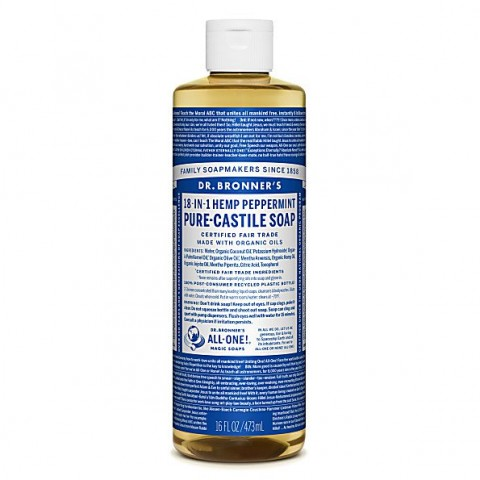 Dr Bronner's - Peppermint - Pure Castille Liquid Soap - 16 oz/473 ml